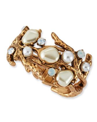 Oscar de la Renta Pearl-Beaded Coral Bracelet - Neiman Marcus