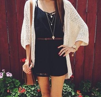 dress sweater jewels jumpsuit cardigan festival white cut-out crochet romper black dress