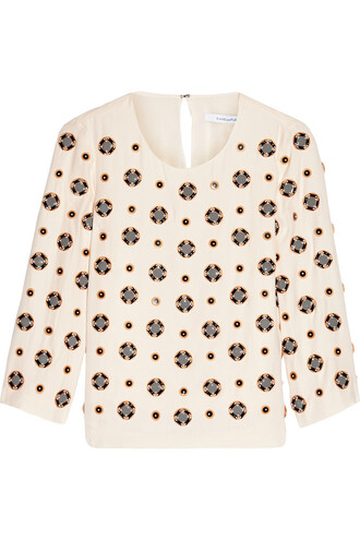 top embellished silk cream