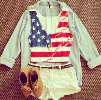 shorts american flag shirt shoes shirt tank top
