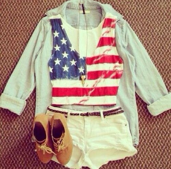 shorts american flag shirt shoes shirt tank top