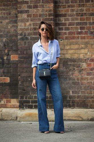 shirt flare jeans blue shirt ysl bag