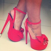 shoes,suede heels,high heels,red shoes,bows,red high heel sandals,clothes,red,heels,high,pretty,nice,finde,them,bow,strappy heels,cute,platform high heels,redheels,red high heels,coral,sexy,fashion,style,trendy,luxurious,fabolous