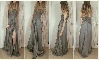 dress prom grad grey maxi long pretty boho indie