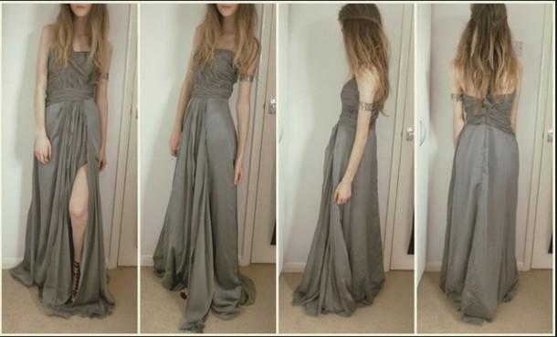dress prom grad grey maxi long pretty boho indie