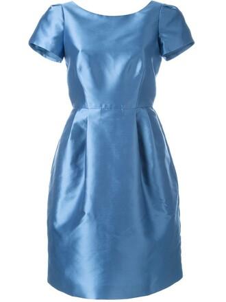 dress back women blue silk