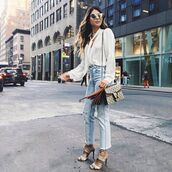 jeans,tumblr,blue jeans,denim,cropped jeans,sandals,sandal heels,high heel sandals,shirt,white shirt,bag,nude bag,gucci,gucci bag,dionysus,sunglasses,silver sunglasses,mirrored sunglasses,cat eye,streetstyle,spring outfits