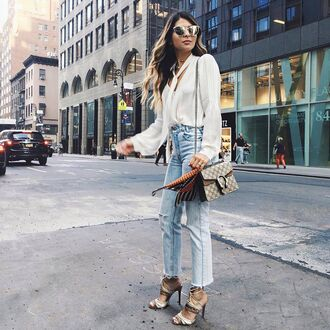 jeans tumblr blue jeans denim cropped jeans sandals sandal heels high heel sandals shirt white shirt bag nude bag gucci gucci bag dionysus sunglasses silver sunglasses mirrored sunglasses cat eye streetstyle spring outfits
