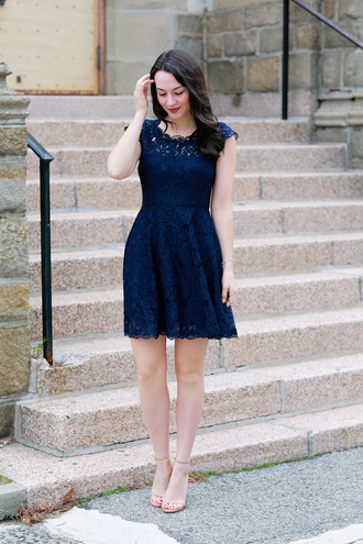 thecollegeprepster blogger jewels dress underwear shoes blue dress lace dress cocktail dress nude heels high heel sandals sandals