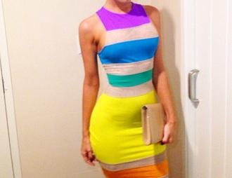 dress rainbow stripes colorful bodycon dress short dress