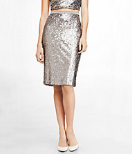 HIGH WAIST SEQUINED MIDI SKIRT | Express