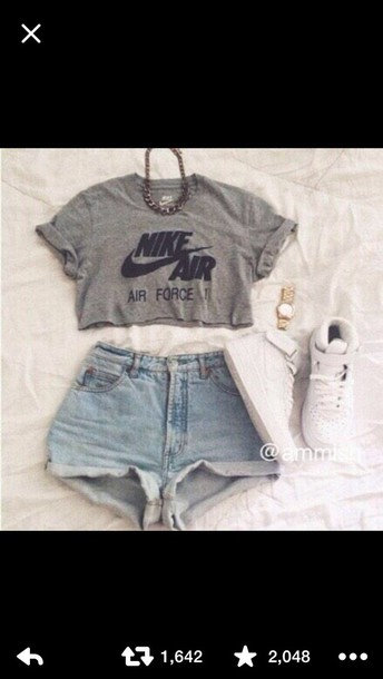 blouse t-shirt cropped nike air grey t-shirt blvck nike nike air force 1 shorts shoes jewels shirt crop tops jeans High waisted shorts