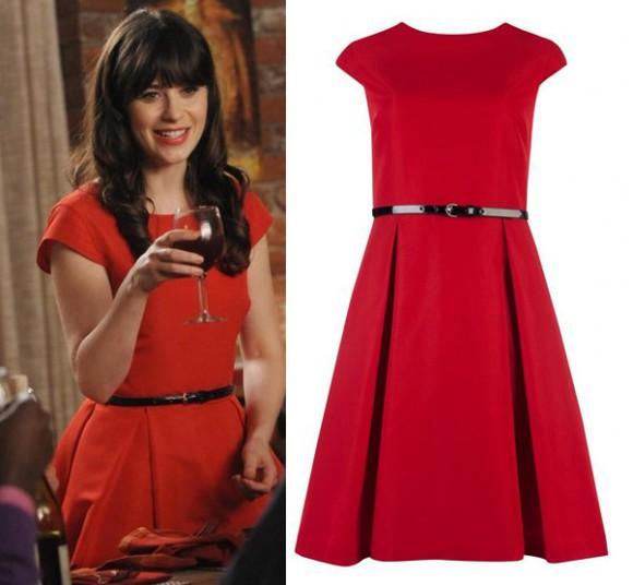 dress new girl zooey deschanel jess day jess red dress