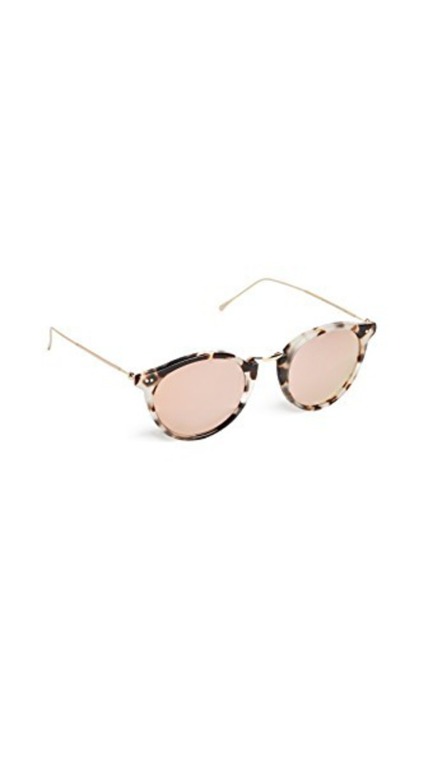 Illesteva Portofino Mirrored Sunglasses in gold / rose / white