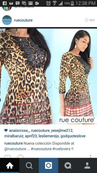 dress leopard print dress 3/4 sleeves red stripes