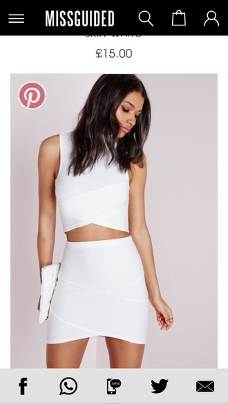dress white love clothes minimalist all white everything pinterest two piece dress set asymmetrical dress mini skirt elegant simple et chic missguided