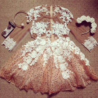 dress boho dress prom dress lace dress summer dress lace sequin dress nude nude dress nude high heels mesh skater dress cute cute dress outfit tumblr tumblr outfit girl girly girly wishlist pretty beautiful necklace headband flowers
