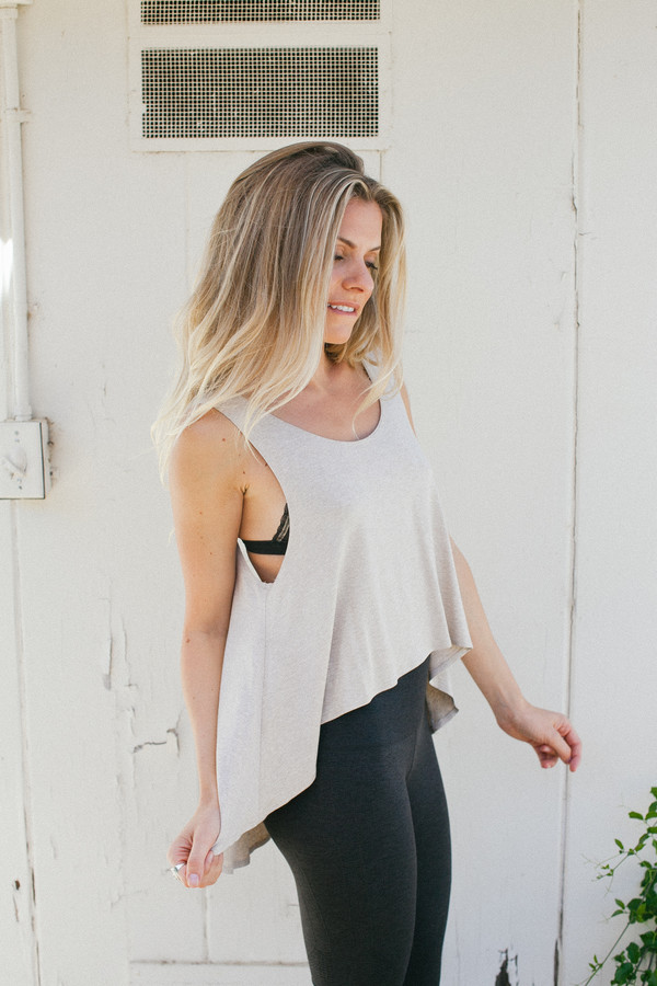 tank top top oatmeal short sleeve sleeveless
