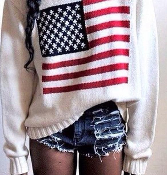 sweater american flag america flag jumper comfysweater american flag sweatshirt tumblr sweater