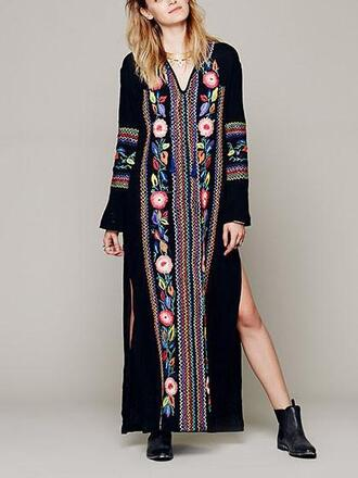 dress mynystyle floral fashion black trendy style girl summer maxi dress boho kaftan chiclook closet boho chic fall outfits streetstyle fall dress embroidered