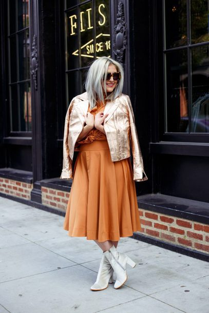 katwalksf blogger jacket top shorts shirt skirt shoes gold jacket orange dress boots spring outfits