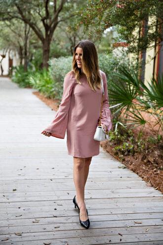 lipstickheels&ababy blogger dress shoes bag jewels spring dress spring outfits pink dress bell sleeve dress pumps