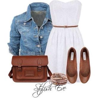 dress white dress denim jacket brown bag white bag strapless steve madden shoes coat mini dress