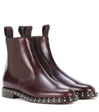 embellished boots chelsea boots red shoes