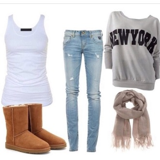 shirt grey sweater gray shirt gray grey top newyork fashion newyork top new york shirt long sleeves jeans scarf pants shoes sweater tank top top