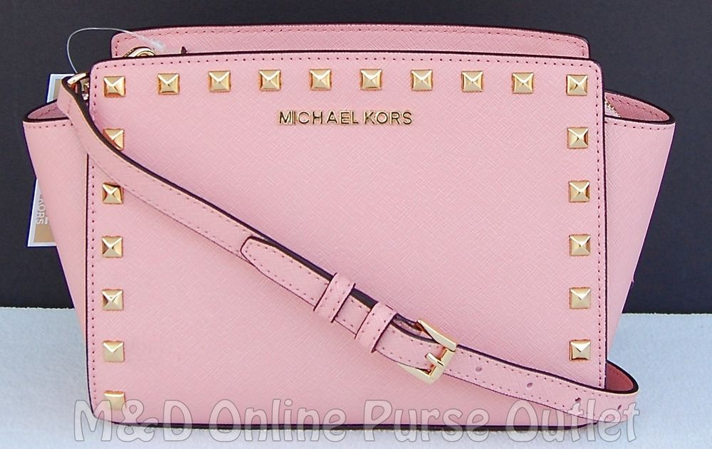 326cf432fae9 NWT Authentic Michael Kors Leather Selma Stud Medium Messenger Bag ~Pale  Pink