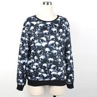 Comfortable Long Sleeves Sweaters Women Men Skull Printed Hoodies CH-10147