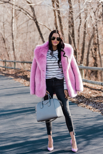 jacket tumblr pink jacket fur jacket faux fur jacket denim jeans black jeans pumps pointed toe pumps high heel pumps bag grey bag sunglasses stripes striped top