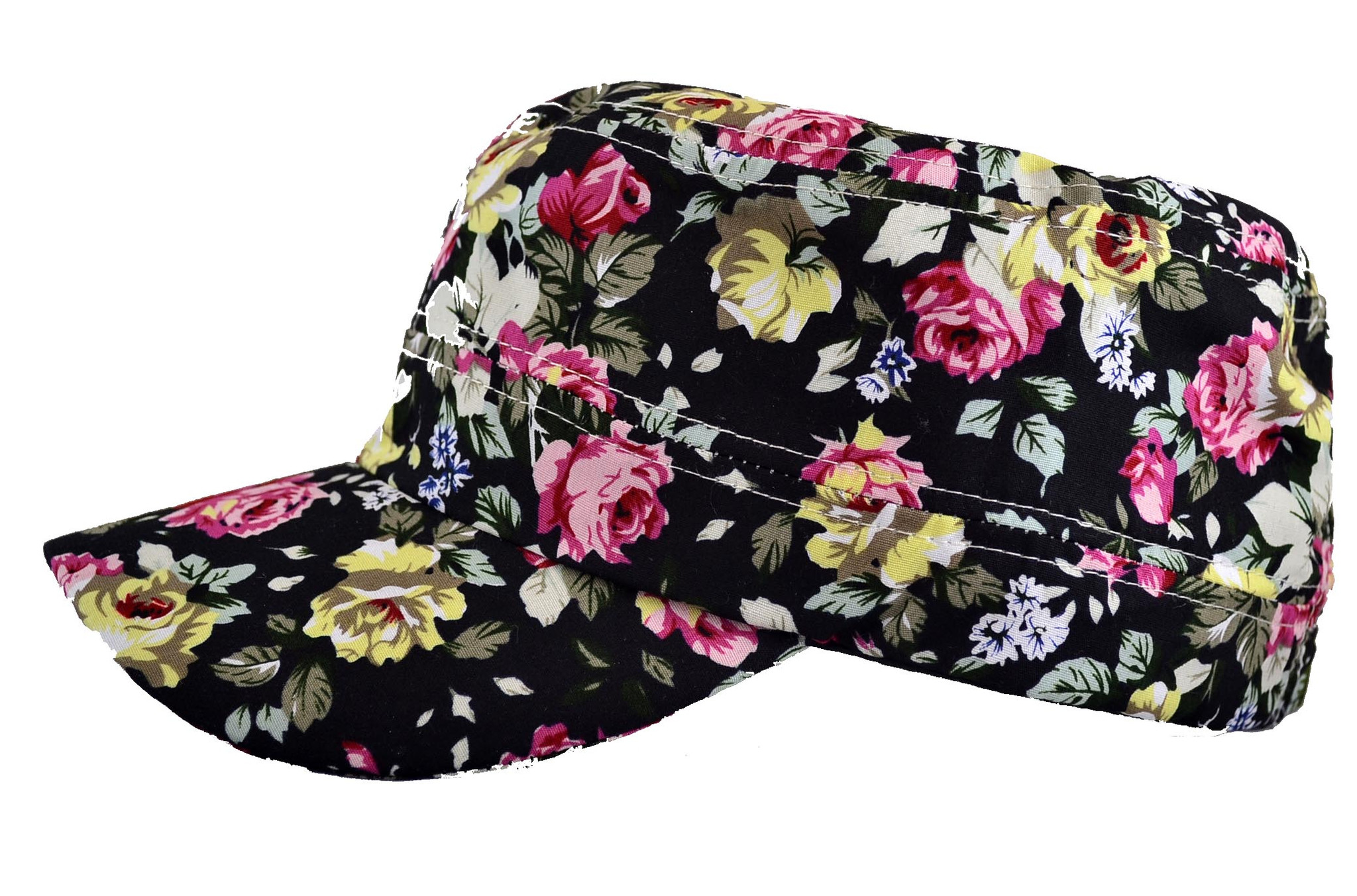 Floral Cadet Hat Painter Baseball Cap Black