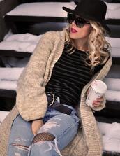 love maegan,blogger,t-shirt,belt,cardigan,hat,shoes,sunglasses