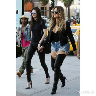 shoes designer clothes celebrity style cecebtq thigh high boots denim sexy summer outfits miami los angeles fashion celebrity style khloe kardashian