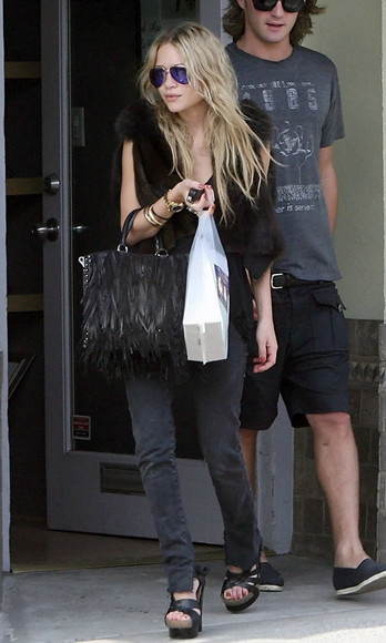 mary kate olsen olsen sisters jeans shoes bag vest sandals wedges