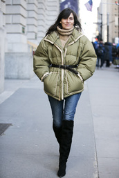 a love is blind,streetstyle,blogger,jacket,shoes,puffer jacket,green jacket,denim,jeans,blue jeans,over the knee boots,boots,black boots,turtleneck,turtleneck sweater,cold weather outfit