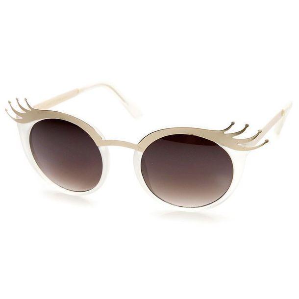 sunglasses eyelashes gold nude white brown