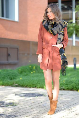 mi aventura con la moda blogger dress wool scarf salmon