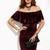 Burgundy Ruffle Off The Shoulder Velvet Bodycon Dress -SheIn(Sheinside)