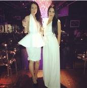 dress,white dress,plunge v neck,2pieces
