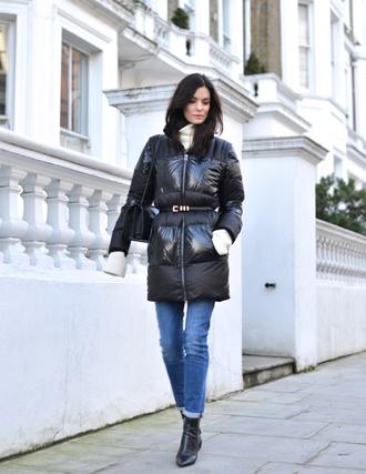 northern light blogger jeans sweater coat belt jewels bag shoes