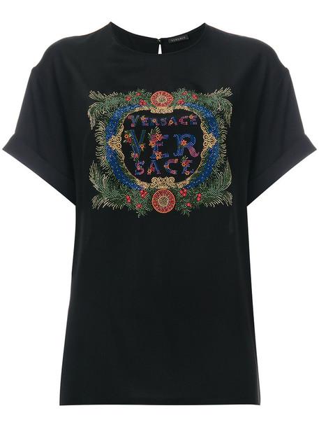 VERSACE t-shirt shirt t-shirt women embellished black silk top