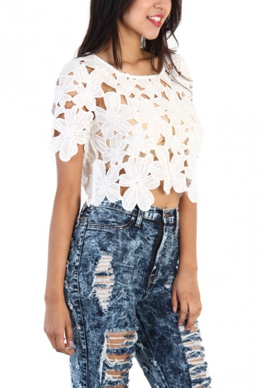 OMG Floral Lace Crop Top - White