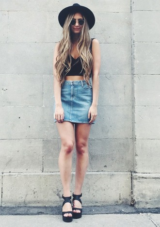 denim skirt black hat black crop top wedge sandals black sandals