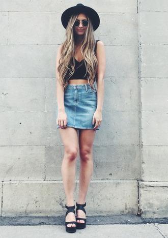 denim skirt black hat black crop top wedge sandals black sandals