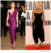 shoes,stella mccartney,heels,purple and gold pumps,purple and gold,natalie portman