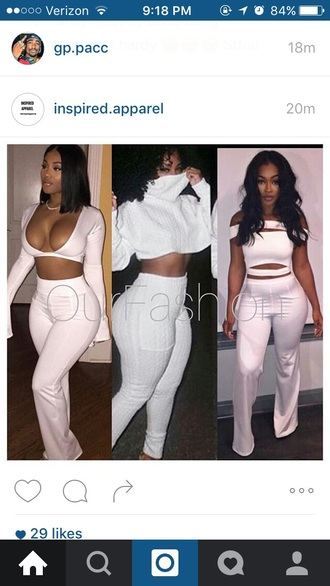 shirt white shirt crop tops deep v sexy top sexy outfit white pants sexy pants high waist pants white high waisted pants high waisted jeans