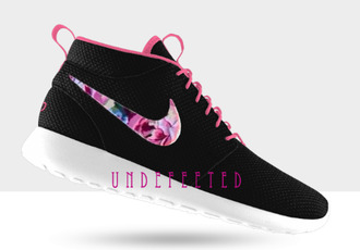 shoes hi tops nikes nike roshe run roshe runs nike shoess neakers floral nikes floral shoes clothes celebrities fashion trendy skirt highwaisted flowers black pink coral cute fabric shirt pants denim custom customize custom nikes