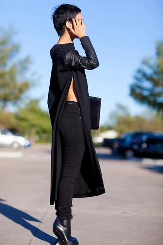 t-shirt maxi jeans shoes blouse top black sweater maxi jumper maxi top pu sleeve side split maxi top pu sleeve side split maxi dress side split long top long jumper black leather hoodie side slit all black everything minimalist shirt leather dope slit top